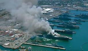 USA. Wybuch i pożar na okręcie wojskowym Bonhomme Richard