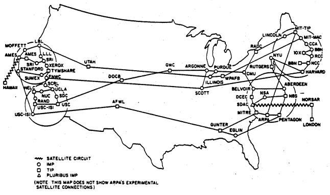 Sieć ARPANET u szczytu swojej chwały (źródło: prairiehill.org)