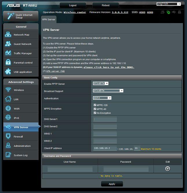 Konfiguracja serwera VPN na routerze Asusa