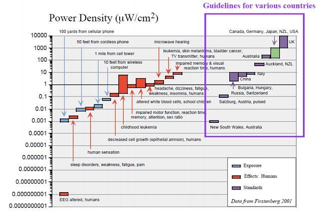 """Wytyczne, dawki i efekty promieniowania przy różnej gęstości mocy (źródło: raport """"Cell phone towers radiation hazard"""" dla rządu Bengalu Zachodniego (Indie))"""