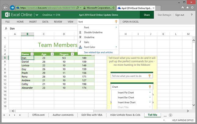 Podpowiedzi Tell Me w Excelu Online