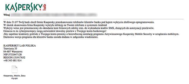 Fałszywy email od Kaspersky Lab