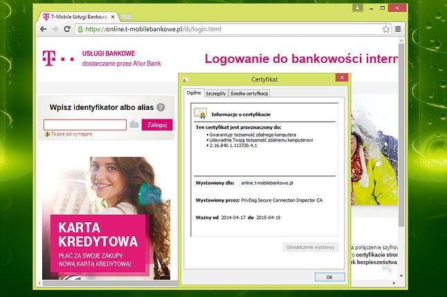 Efekt działania PrivDog: zmieniony certyfikat główny