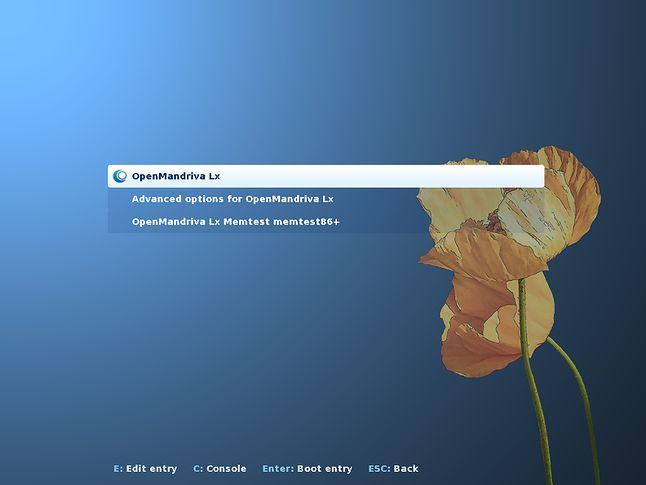 Skórka menedżera GRUB w OpenMandrivie