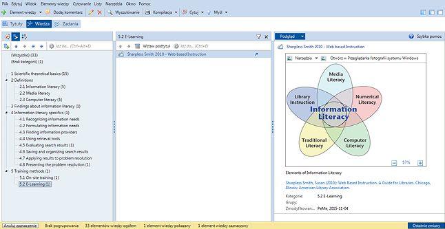 Wygląd dokumentów zorganizowanych w module Wiedzy