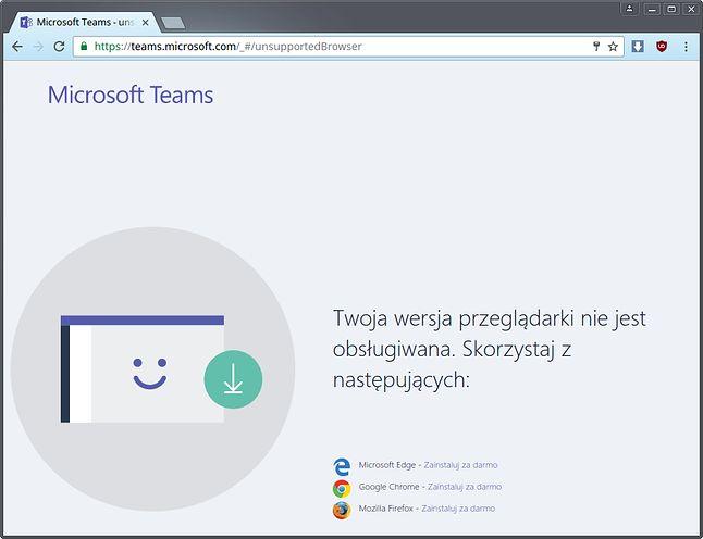 Świeże Chromium nie dośćdobre, by uruchomić Microsoft Teams