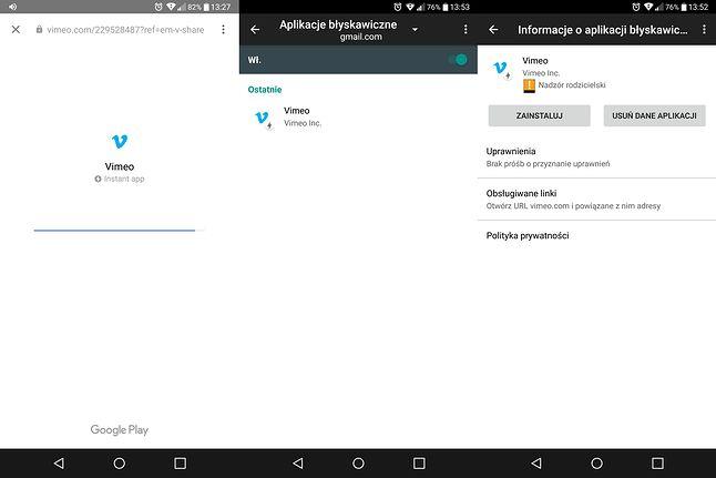 Ekran uruchamiania błyskawicznej wersji Vimeo oraz szczegóły aplikacji w ustawieniach Instant Apps