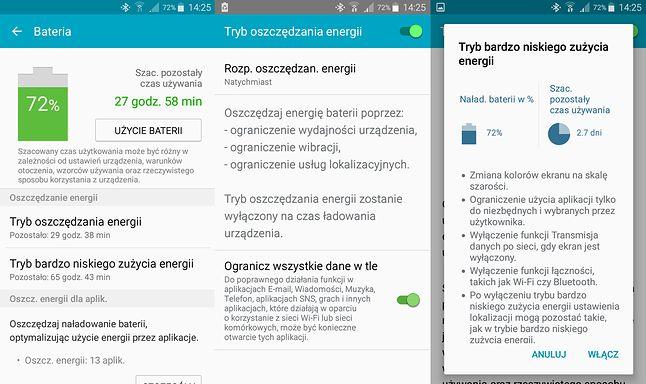 Dwa tryby oszczędzania energii w Samsungu A3 2015. Ten bardziej drastyczny czerpie korzyści z niskiego zużycia energii ekranu AMOLED – w interfejsie dominuje czerń