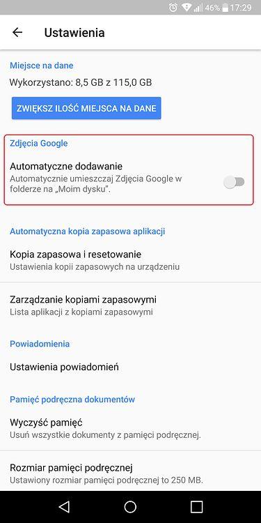 Ustawienia Dysku Google