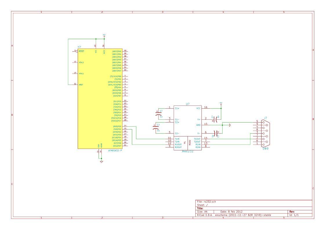 LABVIEW: Komunikacja za pomocą RS232 z Atmel Mega - Schemat Układu Elektronicznego