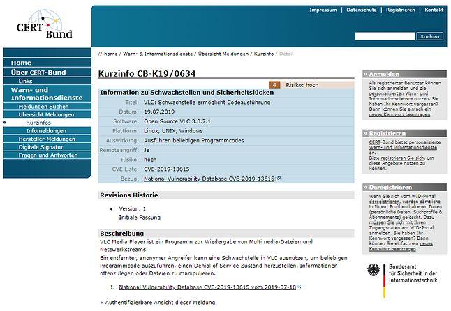 Informacje o luce na stronie CERT-Bund.