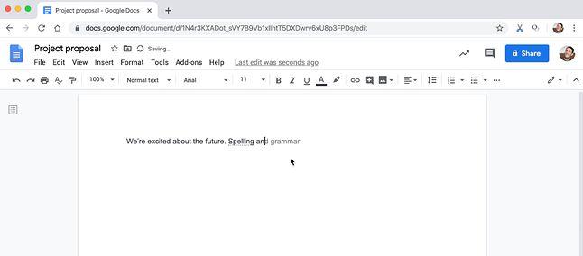 Sprawdzanie pisowni na przykładzie anglojęzycznej wersji Dokumentów, źródło: Google.