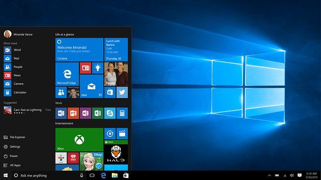 Zrzut ekranu pierwszej wersji Windows 10. Widać Skype'a, ale to nie taki Skype, jak mogłoby sie wydawać...