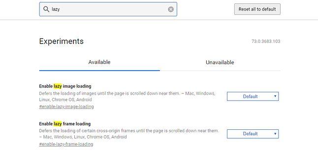 """Ustawienia """"leniwego ładowania"""" wśród flag w Chrome."""