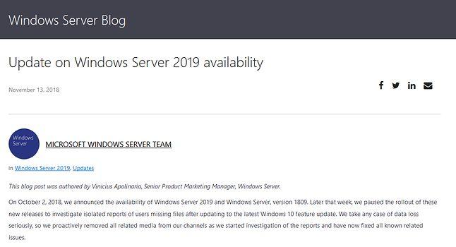 Same wymówki... (https://cloudblogs.microsoft.com/windowsserver/2018/11/13/update-on-windows-server-2019-availability/)