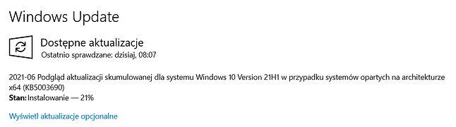 Opcjonalna łatka KB5003690 w Windows Update