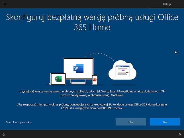 Pierwsza zachęta do korzystania z Office'a pojawia się już podczas instalacji Windowsa 10.