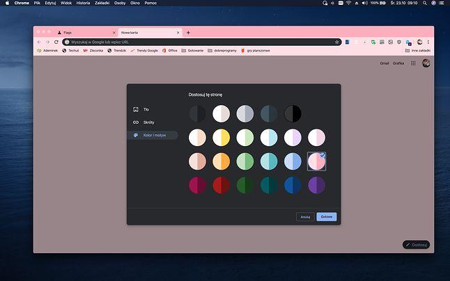 Menu zmiany kolorów w Chrome 77