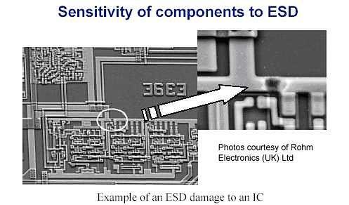 Przykład uszkodzenia spowodowanego ESD
