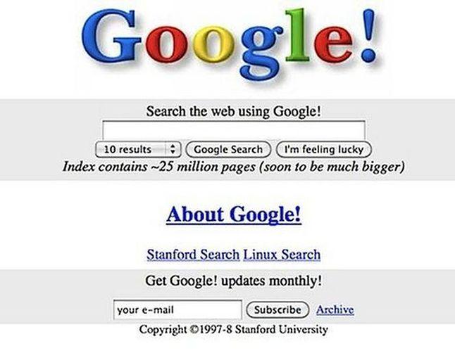 Witryna Google z 98 r.