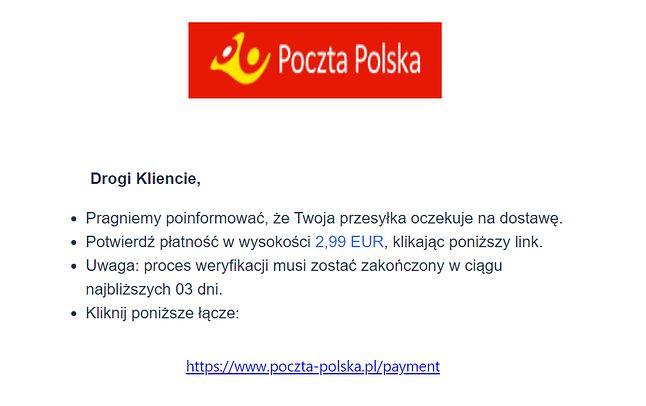 Oszust liczy na wpłaty pieniędzy, podszywając się pod Pocztę Polską, fot. Oskar Ziomek.