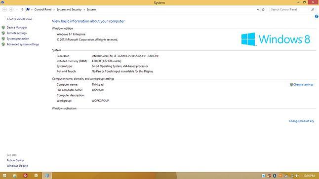 Aktualnie na pokładzie Windows 8.1 Enterprise