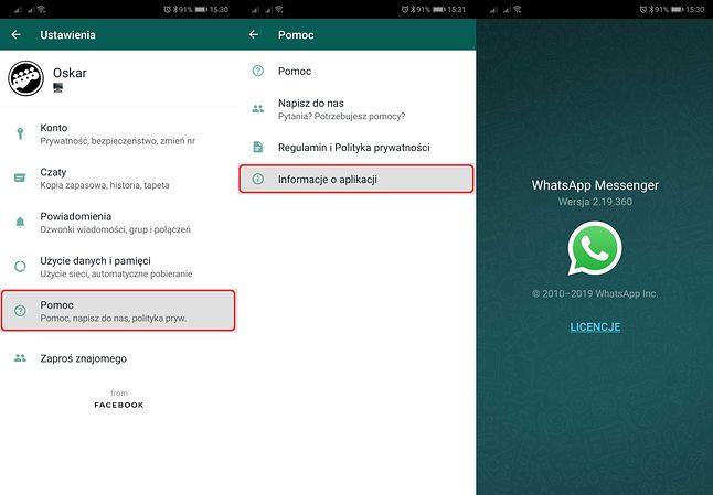 Numer wersji WhatsAppa można sprawdzić w ustawieniach.