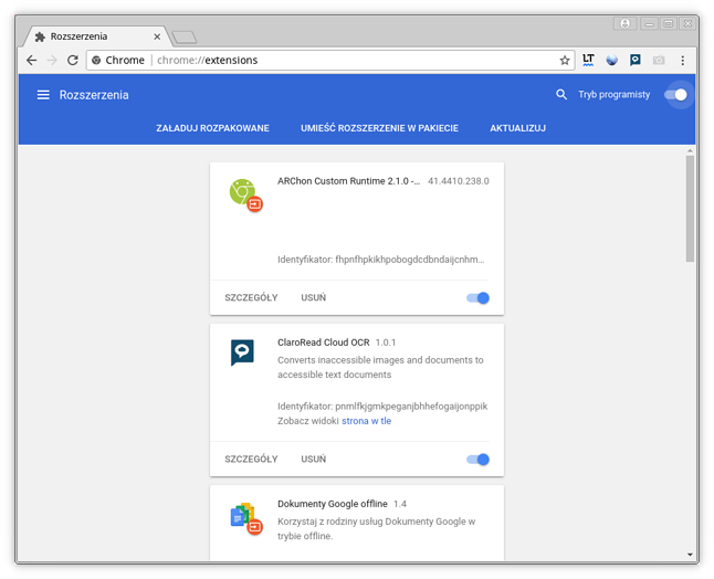 Material Design w widoku Rozszerzeń przegladarki Chrome