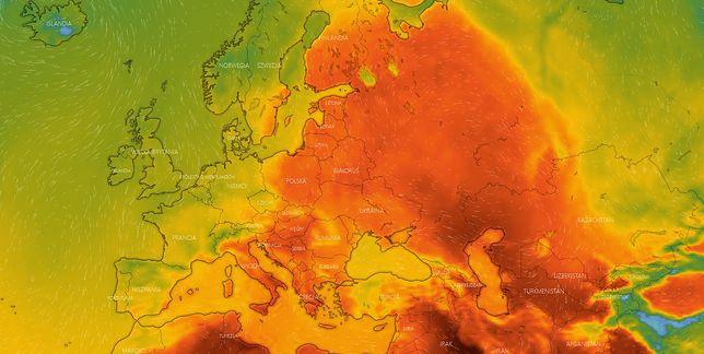 Mapa upałów w Europie - czerwiec 2021