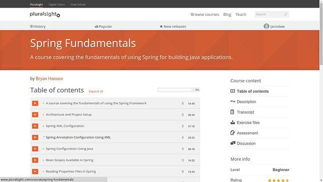 Spis treści kursu Spring Fundametals w serwisie PluralSight