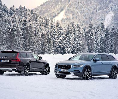Volvo V90 Cross Country w zimowej scenerii z choinkami