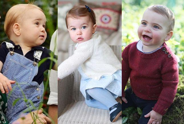 George, Charlotte, Louis - dzieci Kate i Williama, każde uwiecznione na zdjęciach jako roczniak