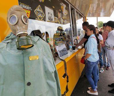 Punkt informacji turystycznej we wsi Dytyatky przed wjazdem do Czarnobyla, lipiec 2019