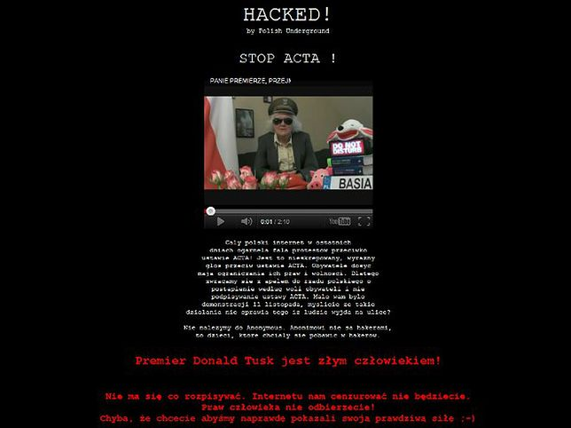 Hakerzy atakują kolejne polskie strony. Walka o ACTA trwa