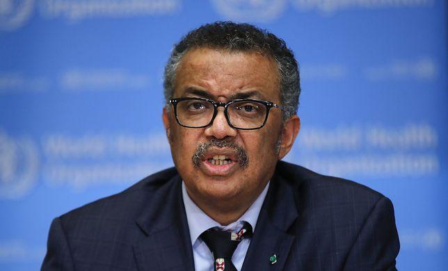 """Szef WHO ostrzega: """"Zakażenia i zgony rosną w niepokojącym tempie"""". Na zdjęciu Tedros Adhanom, dyrektor generalny Światowej Organizacji Zdrowia."""