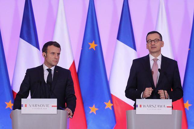 """Emmanuel Macron i Mateusz Morawiecki spotkali się w KPRM. """"Francja nie chce nikogo pouczać"""""""