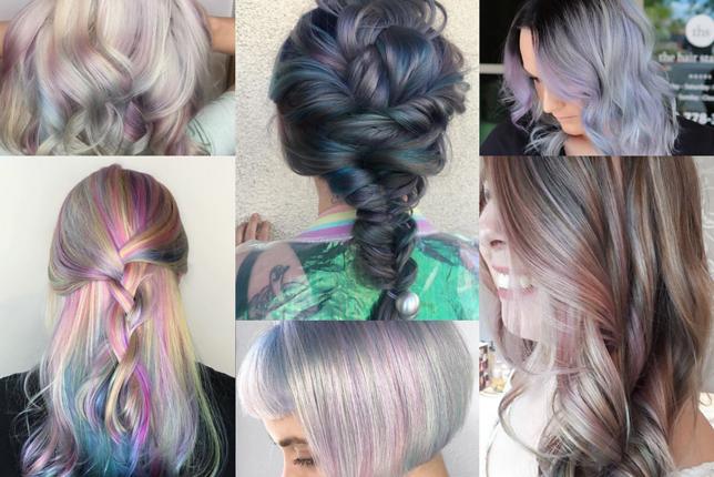 Holograficzne włosy bardzo dobrze wyglądają w połączeniu z lokami i warkoczami