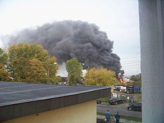 Pożar budynku socjalnego w Choszcznie