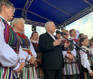 Prezes PiS Jarosław Kaczyński przemawiał podczas Pikniku Rodzinnego w miejscowości Miedzna Murowana