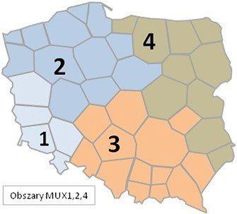 Podział Polski na etapy przejścia z telewizji DVB-T na DVB-T2