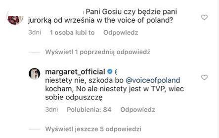 """Margaret REZYGNUJE z jurorowania w """"The Voice of Poland"""": """"Niestety, jest w TVP, więc sobie ODPUSZCZĘ"""""""