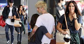 Obładowani bagażami Megan Fox i Machine Gun Kelly obściskują się na lotnisku w Los Angeles (ZDJĘCIA)