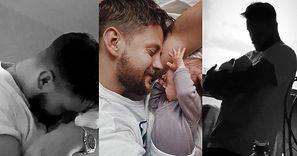 """Wzruszony Sebastian Fabijański PŁACZE nad synem i pokazuje mu świat: """"Tam jest mama, a to jest szafa"""""""