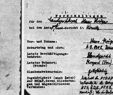 Ankieta personalna Hansa Kruegera, odnaleziona w archiwach w Chojnicach