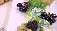 Gołąbki z dorsza w sałacie rzymskiej z winogronami