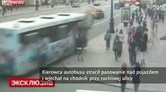 Nagranie wypadku miejskiego autobusu