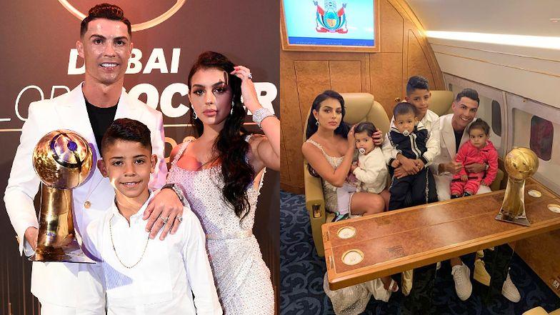 Cristiano Ronaldo w prywatnym odrzutowcu cieszy się z kolejnej nagrody z ukochaną Georginą i gromadką dzieci (FOTO)