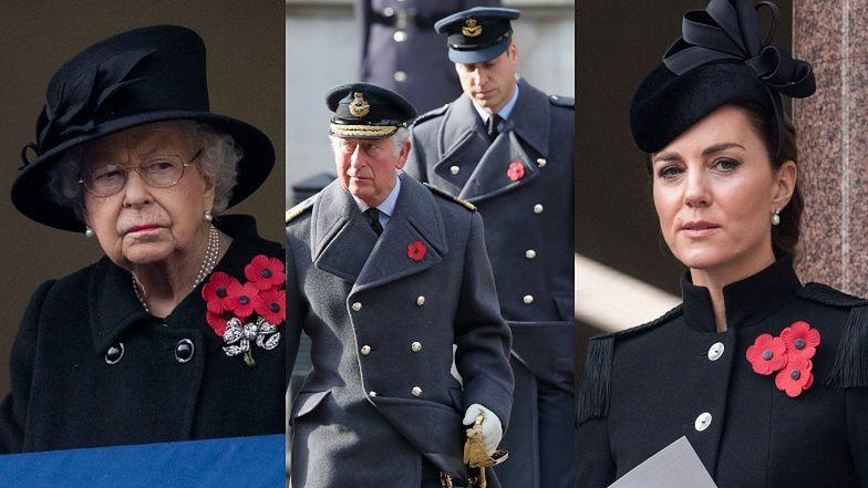 Rodzina królewska oddaje hołd poległym w Niedzielę Pamięci. Harry'emu ODMÓWIONO złożenia wieńca w jego imieniu (ZDJĘCIA)