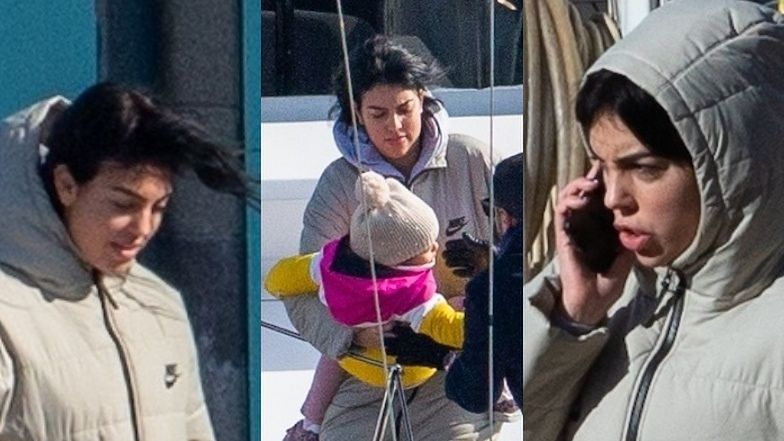 Rozczochrana Georgina Rodriguez przerzuca dzieci na prywatny jacht i łamie covidowe restrykcje