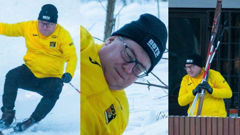 Ryszard Czarnecki na niby-stoku nie zjeżdża na nartach, a na swym boku (ZDJĘCIA)
